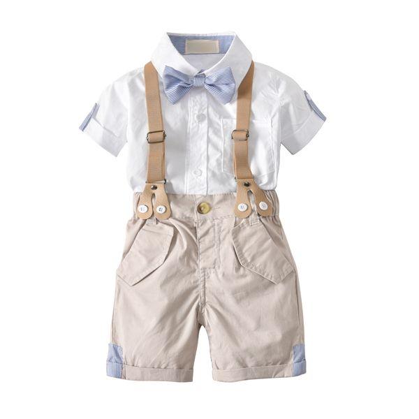 Summer cotton Korean male baby bow tie gentleman strap shorts short-sleeved shirt four-piece children's suit