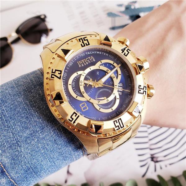 Qualidade Swiss INVICTA Muito grande Mostrador Rotativo Super Qualidade Homens Relógio De Aço De Tungstênio Multifunções De Ouro Relógio De Quartzo 20193A Alta