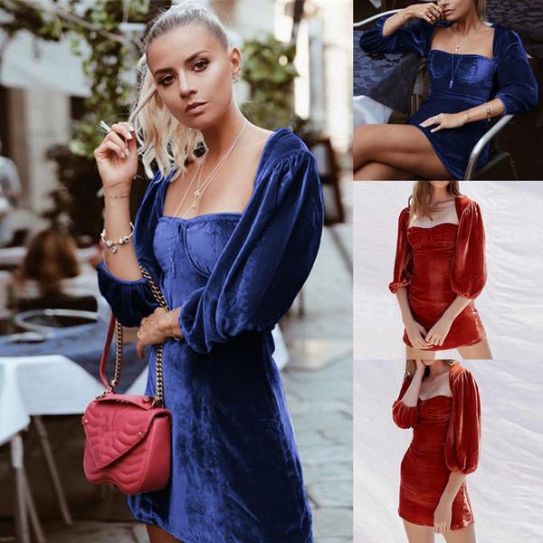 Sexy Dress 2018 Brand Flannel Dress Hot Women's Corduroy Long Sleeve Bodycon Evening Party Min Dress Clubwear