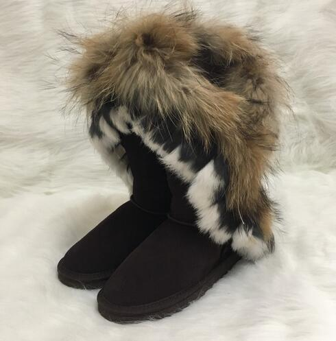 women boot Australian Boots Women Snow Boots Faux Fur Cow Leather Ivg Winter Shoes Knee High Boots Brand Ivg Size US4-14