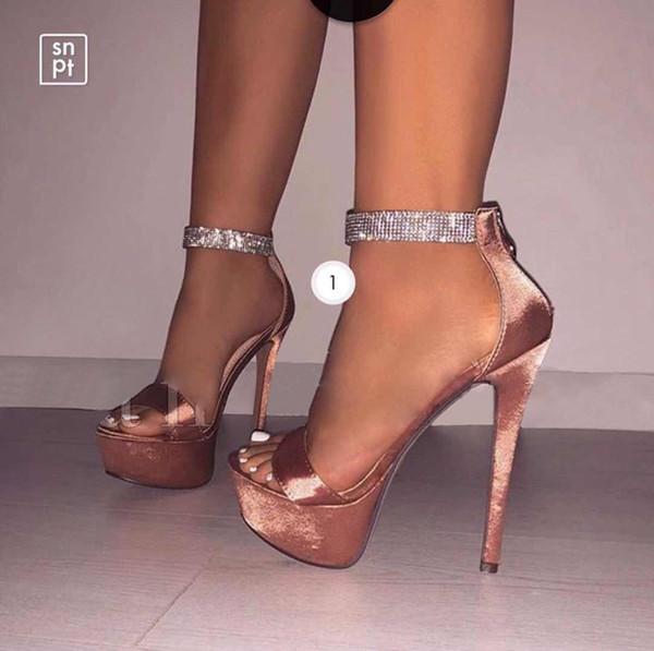 2019 New Fashion super high heels Fashion satin rhinestone waterproof platform high heel women's shoes sandals Customized women wedding lady