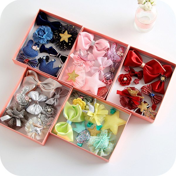 Korean Style Children Hair Ornaments Baby Gift Hair Accessories Set Platypus Clips Bowknot Rabit Crown Hair Clips for Little Girls