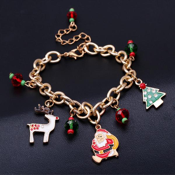 Presente de natal Papai Noel Santa Árvore Cadeia Pulseiras Alloy Oil Drip Santa Encantos Da Árvore de Natal Pulseira de Presente de Natal Da Festa de Presente