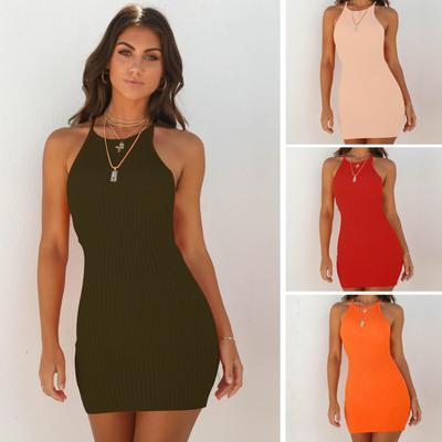 Primavera verano ropa de las mujeres al por mayor Sexy Slim Rib Knit Vestidos Bodycon Slip Dress Off hombro inferior de la cadera Wrap libre DHL fabricante de China
