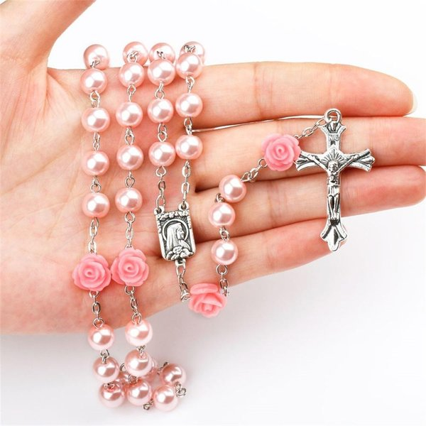 Mulheres Religiosas católicas Cristão Virgem Maria Rosário cruz Colar de Jóias Imitar Pérola Contas de Oração Colares