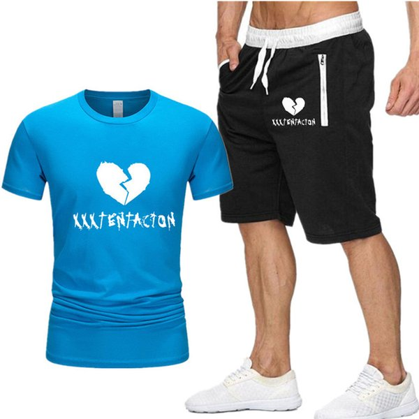 New Men Sets t shirt+shorts men Brand clothing Xxxtentacion Harajuku tracksuit Fashion Casual Tshirts Workout Fitness Streetwear D8