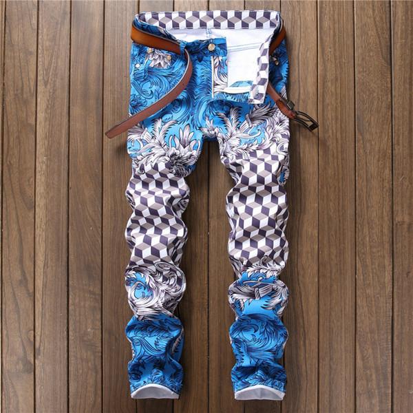 Moda tasarımcısı pantalon homme açık mavi slim fit skinny jeans pp moda hip hop rahat pantolon erkek baskılı ekose kot erkekler
