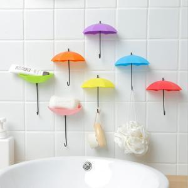 3Pcs/Lot Colorful Umbrella Shaped Hanger Portable Creative Decorative Holder Wall Hook Kitchen Bathroom Accessories Set WWA92
