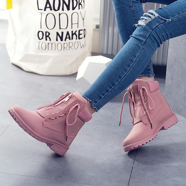 Calde di vendita-Impermeabile Stivali di pelle delle donne Stivaletti per donne raffreddano Moto piatto Boot 2019 di autunno della molla ragazze classici Lace Up Stivali in gomma