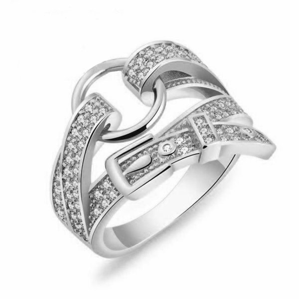 HOT Cool Silver Belt Shape Band Ring Crystal Zircon Fashion Personality Creative Ring Jewelry For Women Girls Party Adjustable