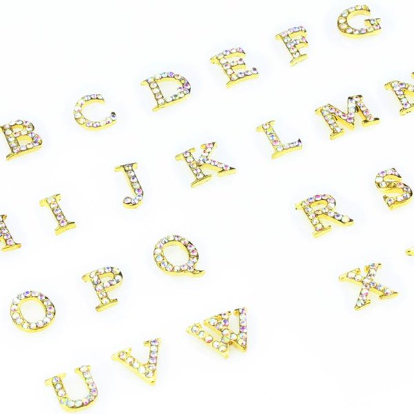 украшения сплава ногтей 26 шт Золотой сплав 3D A-Z 26 английских букв с блеском AB Стразы для ногтей DIY маникюрные украшения