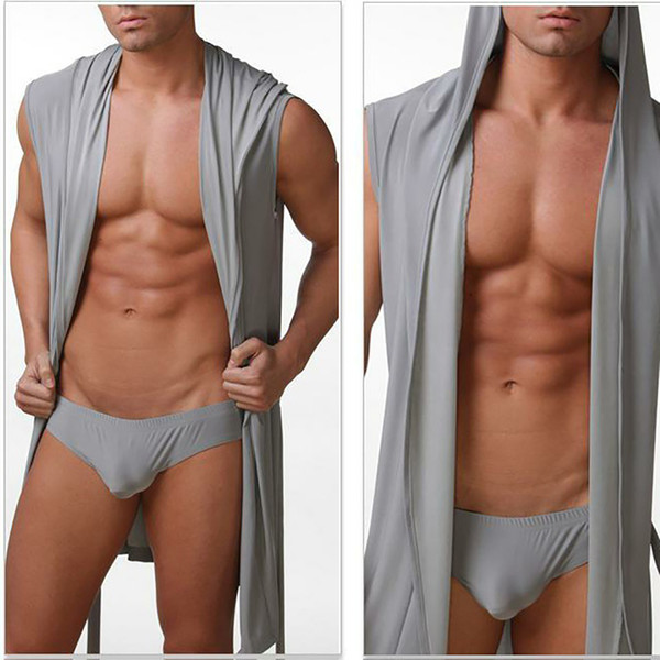 Summer Autumn Men's Nightgown Sexy Ice Silk Slim Hooded Sleeveless Bathrobe Nightgown Male Robes Sleepwear 4 Colors
