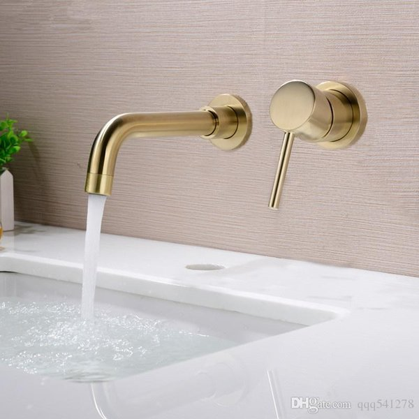 210mm solid brass wall mounted basin faucet bathroom mixer tap and cold faucet 360 degree rotation spout