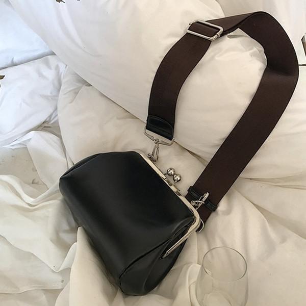 Frauen breiter Schultergurt PU Leder Geldbörse Griff Taschen Umhängetasche