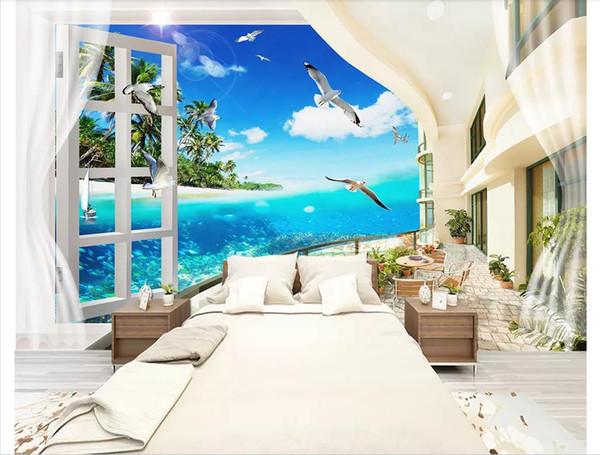 Custom 3d photo murals wall paper home decor Mediterranean beach coconut tree sea view bedroom living room sofa background wall