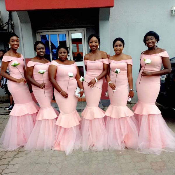 2020 rosa do ombro longo vestidos de dama de honra tule inferior vestido de baile sereia vestidos de manga curta maid of honor dress