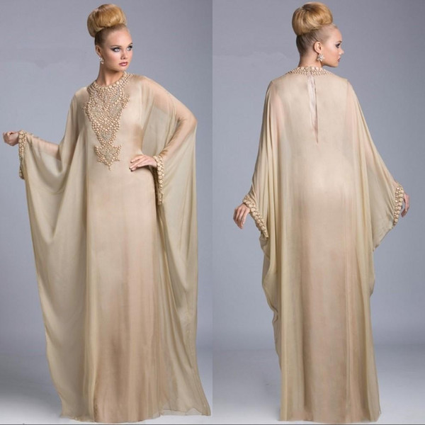 2019 Barato Champagne Abaya Dubai islámico Kaftan gasa Cristal Árabe Vestidos de noche Mangas largas Con cuentas Vestido de fiesta Vestidos de fiesta personalizados