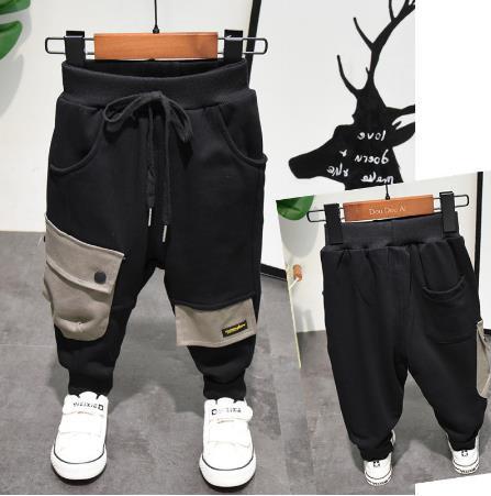 Yeni çocuk pantolon erkek rahat pantolon çocuk harem pantolon patchwork cep tasarım bebek rahat ayaklar