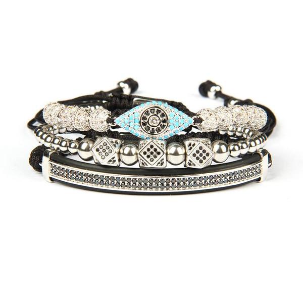 Luxury Bracelet Men And Women 12 Design 3pcs/set Crown Hamsa Eye Macrame Bracelets Stainless Steel Beads Bangle For Gift