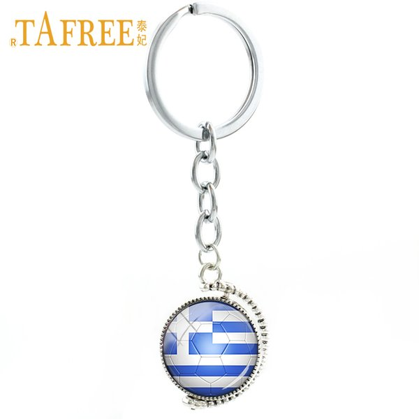 TAFREE New rotatable double sides Greece Football Team keychain sports men women jewelry World City Map key chain ring gift N503