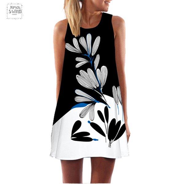 Dress Summer Women Print Chiffon Dress Sleeveless Boho Clothes Style Short Beach Dress Casual Shift Dresses Designer