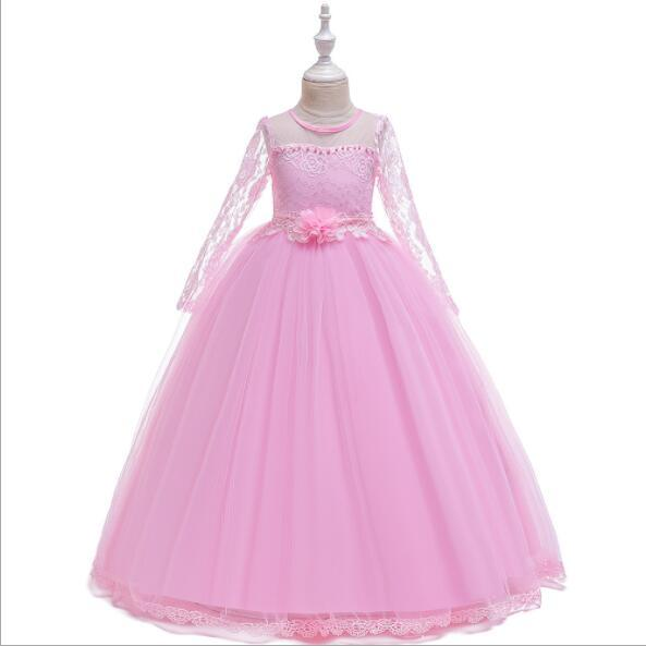 2019 New Long Lace Ball Gown Flower Girls Dresses Simple Kids Wedding Party Dress White First Communion Dresses For Girls