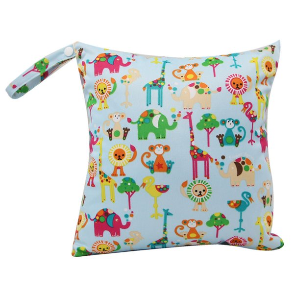 Baby Diaper Bags Reusable Waterproof Elephant Print Wet Dry Diaper Bag Cloth Handle Wet Bags Baby Care Mother for Mom