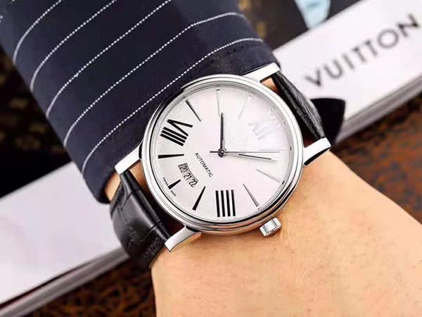 Venta caliente Nuevo reloj para hombre Fecha Correa de piel de becerro Números romanos 40mm Dial Plate Relojes de pulsera de alta calidad