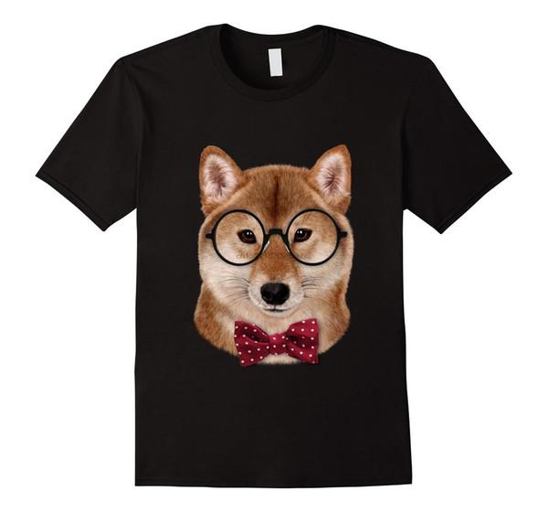 Nerd Shiba Inu in Brillen und Fliege Japanischer Hund Männer T-Shirt lustige T-Shirts Kurze Baumwolle O-Neck Print Streetwear