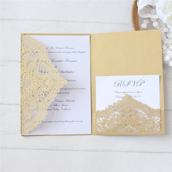 Compre Invitación Corte De Boda Tarjetas De Matrimonio De Boda Oro Blanco Marfil Floral Cumpleaños Tarjetas De Felicitación Impresión Personalizada