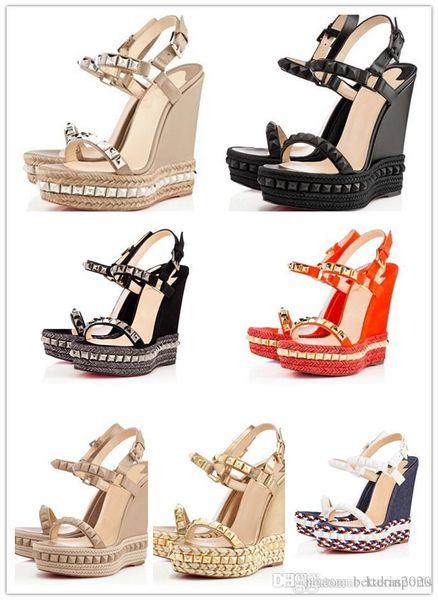 Seksi Yaz Cataclou Studs Platformu Espadrilles Sandalet Kama Bayanlar Gladyatör Sandalet Kadın Kırmızı Dip Ayakkabı Lüks Tasarımcı Parti W