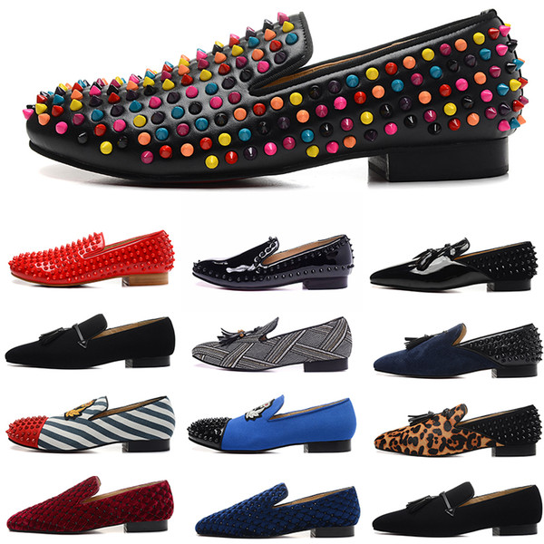 top popular luxury designer mens leather dress shoes spikes red bottoms flats suede canvas loafers wine red black blue scarpe des chaussures pour hommes 2020