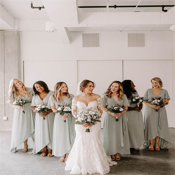 best selling Cheap V-neck Chiffon Hi-lo Bridesmaid Dresses with Short Sleeves Maid Of Honor Gowns vestidos de fiesta