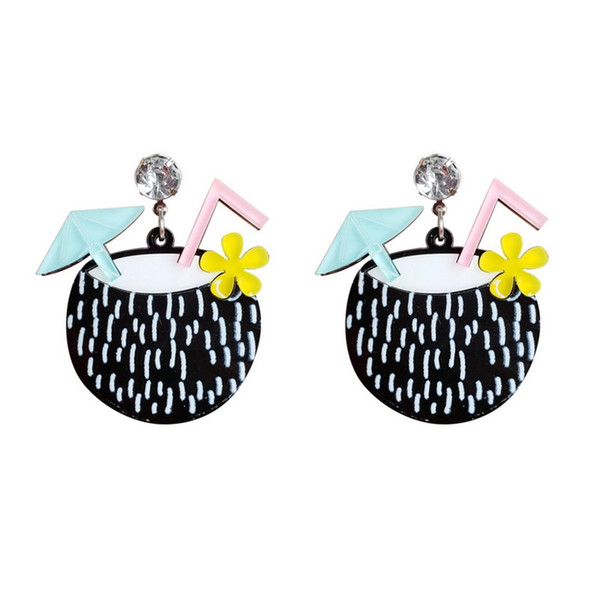 Exaggerated Beach Vacation Style Coconut Drink Acrylic Drop Earrings Cool Style Fresh Fashion Colorful Dangle Earrings for Women