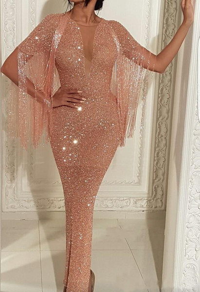 2019 Arabic See Through Sequins Mermaid Prom Dresses Rose Gold Short Sleeve Evening Gowns Ankle Length Split Cocktail Party Gown