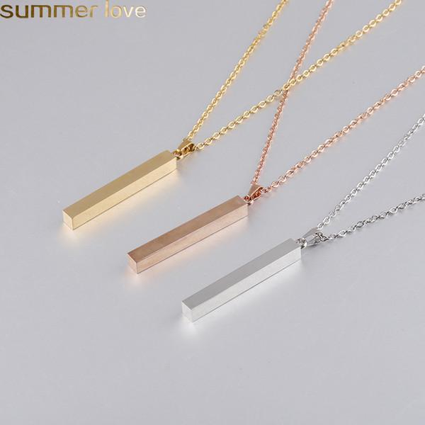 De oro rosa de plata de acero inoxidable barra de la manera colgante, collar de oro sólido blanco barra Charm colgante para el comprador posee grabado personalizado