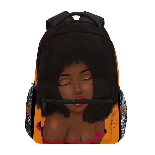 Bolsas de viaje ALAZA Escuela de bolsas de portátiles mochilas africano afro chica Negro Mujeres Grandes bolsas de fin de semana joven laptop Capacidad para la hembra