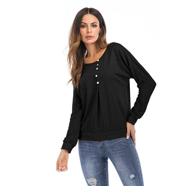 YOUNG VIVA 2019 Women Tops long sleeve scoop neck loose Pure color button T-Shirt yb122