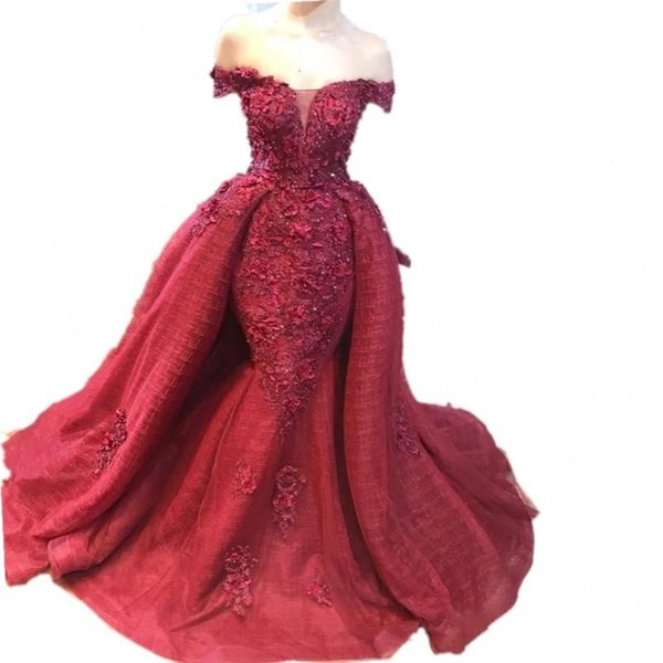 2019 New Sexy Dark Red Evening Dresses Mermaid Overskirts Off Shoulder Lace Appliques Beads Backless Plus Size Prom Party Red Carpet Gowns