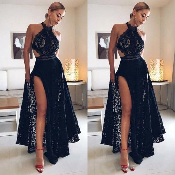 Sexy High Side Slit Black Prom Dresses Long 2019 Halter Neck A Line Full Lace Cocktail Dresses Black Girls Evening Formal Party Gowns