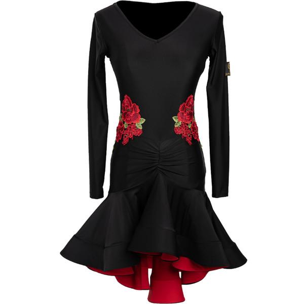women black Latin dance dress female new dance clothes adult practice clothing art test skirt embroidery dress
