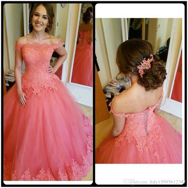 2019 New Sexy Off The Shoulder Lace Appliques Lace Up Back Prom Dresses robe de soiree Long Evening Party Gowns 1145