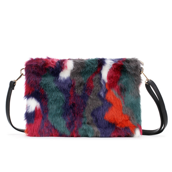 New Fashion Women's Clutches Bags Lady Mixed Faux Fur Clutch Handbags Shoulder Bags Pouch Party Messenger Purse Colorful Bag