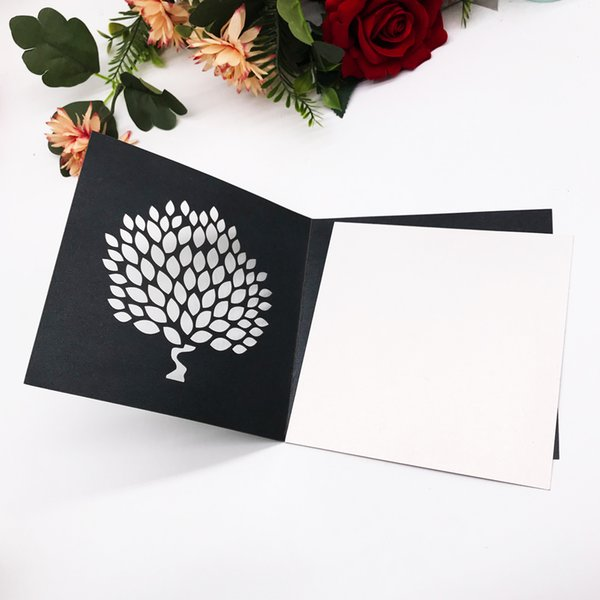 Hollow Laser Cut Wedding Invitation Cards Design With Big Tress Using For Festival Birthday Party Grand Events