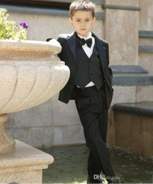 Popular Black Boys Formal OccasionTuxedos Notch Lapel Two Button Kids Wedding Tuxedos Child Suit Holiday clothes(Jacket+Pants+Tie+Vest)34