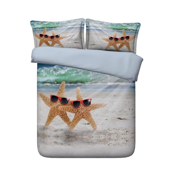 Denizyıldızı yatak Mavi Deniz suyu 2 Yastık Şems 3D Ocean Beach Yorgan Kapaklı 3 adet Yatak Dalgalı Yatak örtüsü Canlı Renkli Yatak Setleri