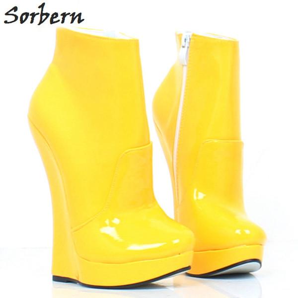 Sorbern 18 CM Kadın Ayak Bileği Çizmeler Takozlar Ayakkabı Artı Boyutu Toka Askı Moda Bayanlar Unisex Ayakkabı Patent Deri Custom Made Renk