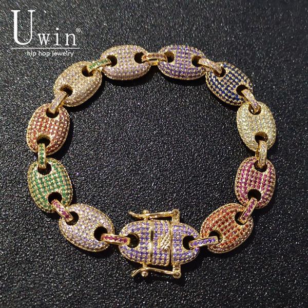 Uwin Coffee Beans Bracelet Puffed Marine Chain 13mm Hip Hop Gold Silver Link Fashion Punk Choker Charms Jewelry 7inch 8inch Y19062901