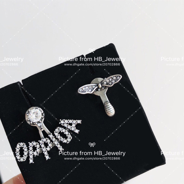 best selling Have stamps fashion letter bee hoop diamond stud earrings aretes for lady mens women party wedding lovers gift jewelry for bride with box