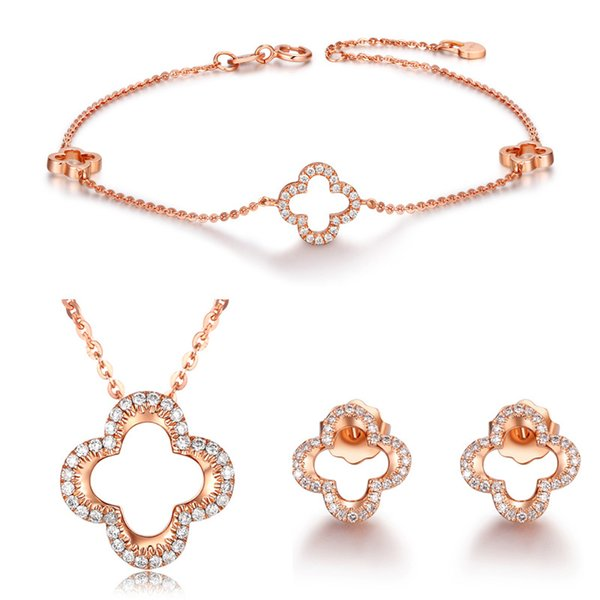 S925 Sterling Silver Jewelry Set Rose Gold Color Bracelet Clover Necklace Pendant Stud Earrings Hot Woman Dating Jewelry Set